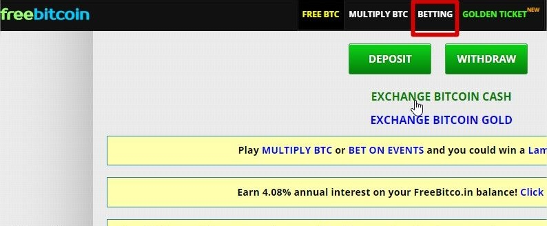menu betting sur le site Freebitco.in